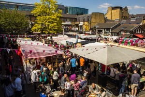 Food Stalls at Camden Market during the day