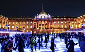 Ice Skating in Somerset House in the evening
